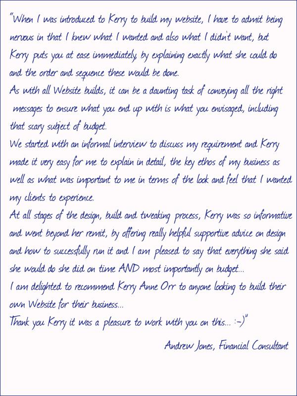Andrew Jones Testimonial
